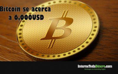 Bitcoin se acerca a 6,000USD