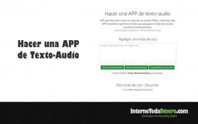 Hacer una APP de Texto-Audio
