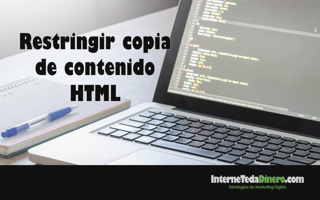 Restringir copia de contenido HTML